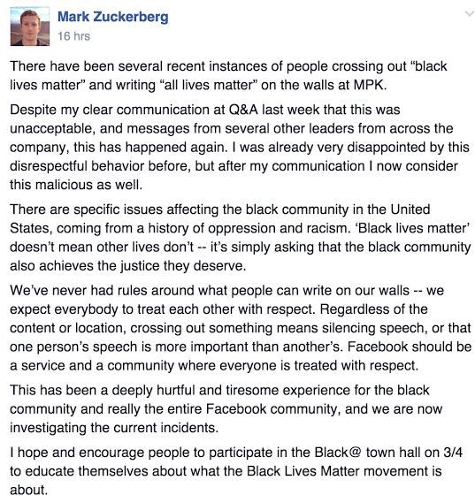Mark Zuckerberg on the racism withing his own staff members at Facebook. Memo sent out to address the cross out of the hastag #blacklivesmatter to all lives matter. He called it malicious behavior.